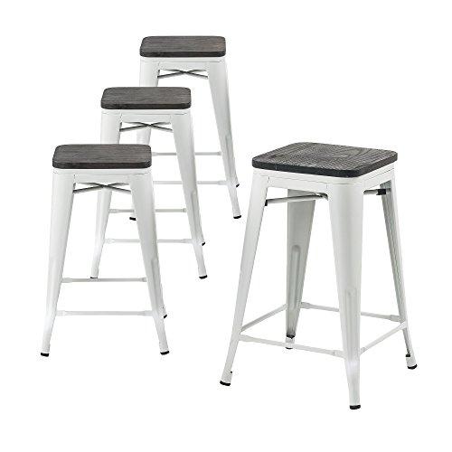 Buschman Set 4 Matte White Wooden Seat 30 inch Bar Height Metal Bar Stools, Indoor/Outdoor, Stackable