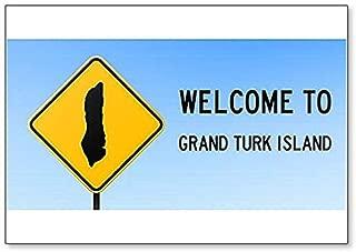 Grand Turk Island Map on Road Sign Illustration Fridge Magnet