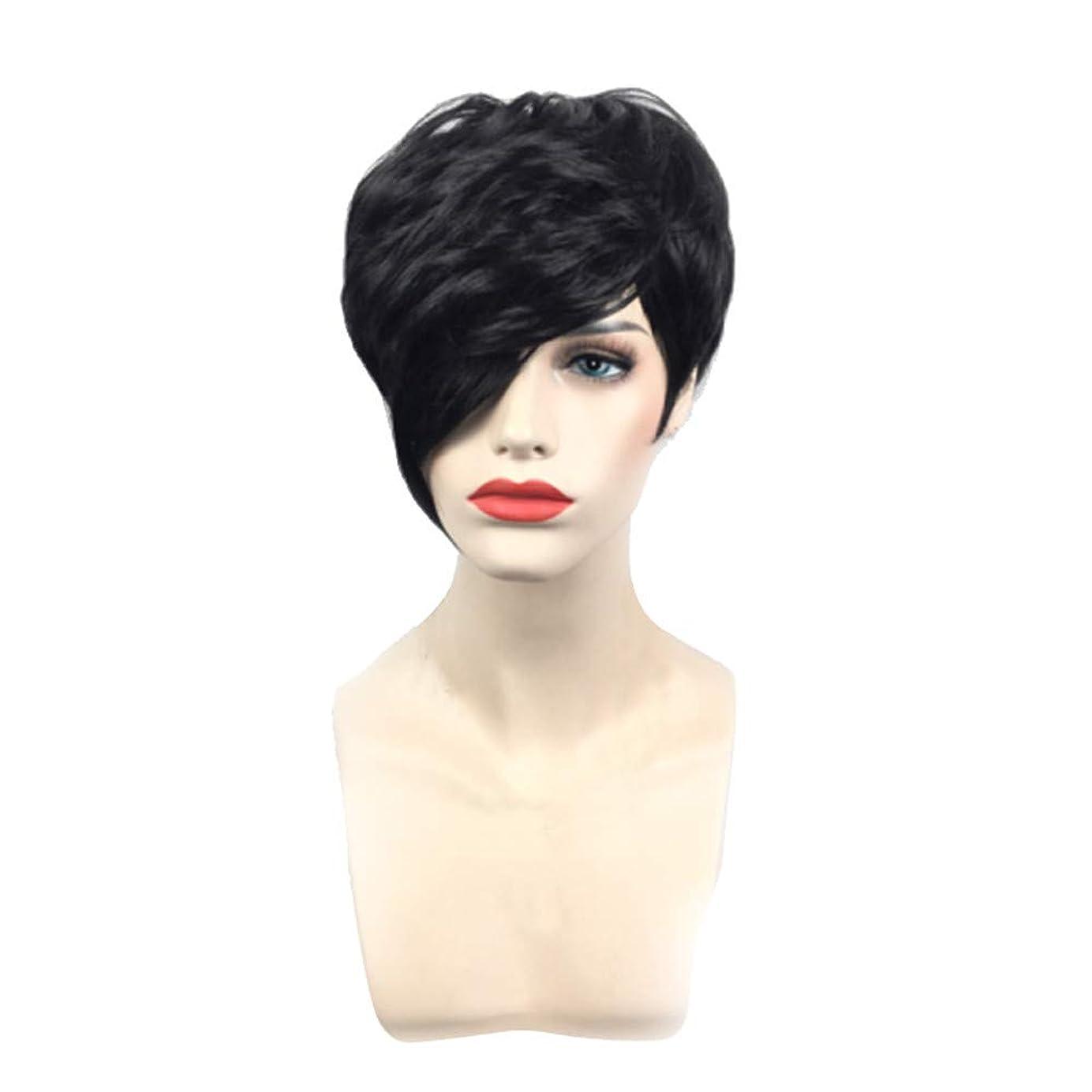油レーザ腐敗黒の短いストレートヘアフルウィッグファッションコス小道具かつら