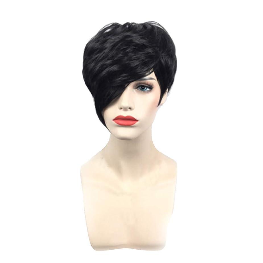 速度広告するモンスター黒の短いストレートヘアフルウィッグファッションコス小道具かつら