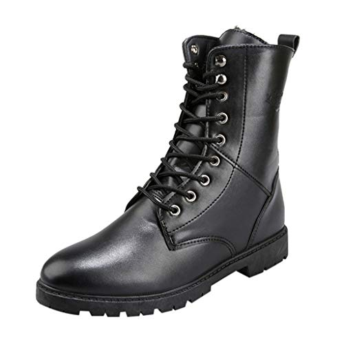 Stiefeletten Herren Outdoor Martin Stiefel High-Top Lederschuhe British Style Freizeitstiefel Classic Walking Schuhe Casual Boots, Schwarz