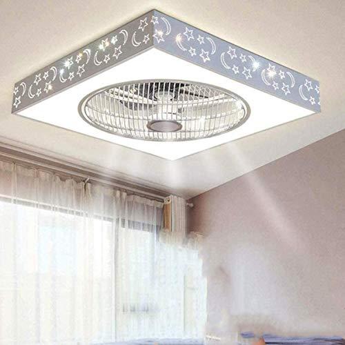 LED Rechteck Lüfter Deckenleuchten 40W Moderne Deckenventilator 3-Gang dimmbare Fan-Square Deckenleuchte Ultra-ruhig mit Beleuchtung und Fernbedienung stummes Schlafzimmer