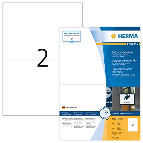 HERMA 9541 Wetterfeste Folien-Etiketten DIN A4 (210 x 148 mm, 40 Blatt, Polyethylen, matt) selbstklebend, bedruckbar, extrem stark haftende Outdoor Klebefolie, 80 Klebeetiketten, weiß
