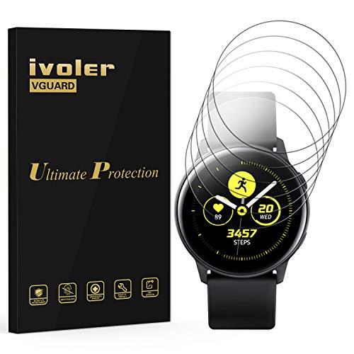 VGUARD 6 Pezzi Pellicola Protettiva per Samsung Galaxy Watch Active 2 44mm, Wet Applied Protezione Schermo [Bubble-Free-Riutilizzabile] HD Clear Film in TPU