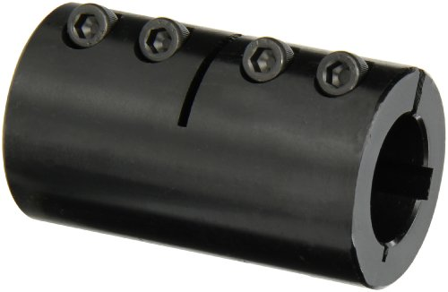 Climax Part ISCC-100-100-KW Mild Steel, Black Oxide Plating Clamping Coupling, 1 inch X 1 inch bore, 1 3/4 inch OD, 3 inch Length, 1/4-28 x 5/8 Clamp Screw