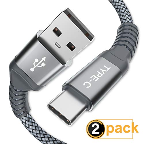USB Type C Cable, AkoaDa (2 Pack 6.6ft) USB to USB C Cable Nylon Braided Fast Charger Cord Compatible Samsung Galaxy S9 Note 10 9 8 S8 S10 Plus,Google Pixel XL 3,LG G7 thinq V20,Moto Z,Z3(Grey).