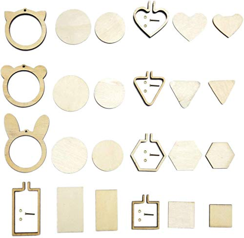 10 Pieces Small Embroidery Hoops Ring Mini Geometric Wooden Cross Stitch Hoop Wood Hoops for Frame Craft and Hanging (8pcs Mixed Shape)