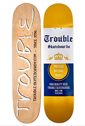 TROUBLE SKATEBOARDS Skateboard Deck 8.0 8.1 8.25 8.50 North American Maple Professional Decks (D24) (8.25)