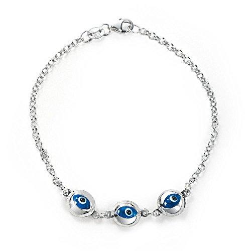 Bling Jewelry Turco Mal Ojo Azul Translúcido Link Brazalete Dijes Mujer para Protección Mujer Plata Esterlina 925, 7,5 Pulgadas