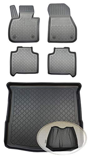 ZentimeX Z392473 Set Kofferraumwanne Gummifußmatten + Klettnetztasche (Laderaumwanne, Kofferraummatte, Automatten)