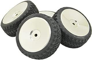 Rowiz 4PCS 12mm Hub Silver Rim & Tires 1/10 Off-Road RC Car Buggy Disc Wheel Tyre w/ Foam Inserts