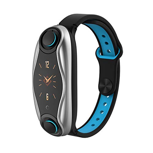 Sheuiossry 2 in 1 Smart Armband mit drahtlosem Bluetooth 5.0 Headset Combo Laufende Musikfunktionen Armband Kopfhörer Herzfrequenz Blutdruck Fitness Tracker für Frauen und Männer