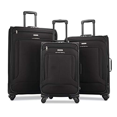 American Tourister Pop Max Softside Luggage with Spinner Wheels, Black