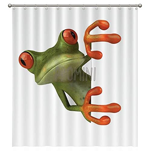 Promini Cartoon Jolly Frog with Greater Eye Childish Bathtub Shower Curtain Washable Bath Curtain with Hooks 180x200cm Polyester Bathroom Curtain