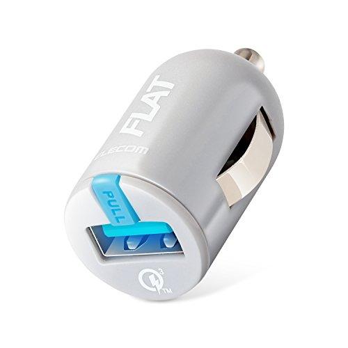 エレコム カーチャージャー 車載充電器 カー用品 【 iPhone / Android / IQOS / glo 対応 】 USB×1ポート Quick Charge 3.0 ブラック MPA-CCUQ03GY
