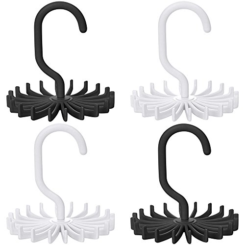 SENHAI Twirl Tie Rack 4 Pack Anti-Slip Belt Tie Hanger Accessory Rack Organizer for Closet - White Black