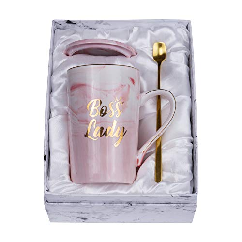 Boss Lady Mug and Golden Spoon - Best Gifts for Mom and Female Boss Friend - Boss Gifts Birthday Gifts for Women Boss Mom 14oz Marble Ceramic Coffee Mug