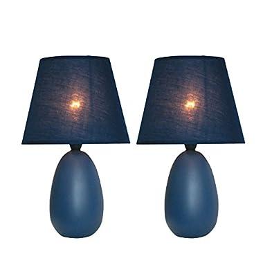 Simple Designs Home LT2009-BLU-2PK Mini Oval Egg Ceramic Table Lamp 2 Pack Set, 5.51  x 5.51  x 9.45 , Blue