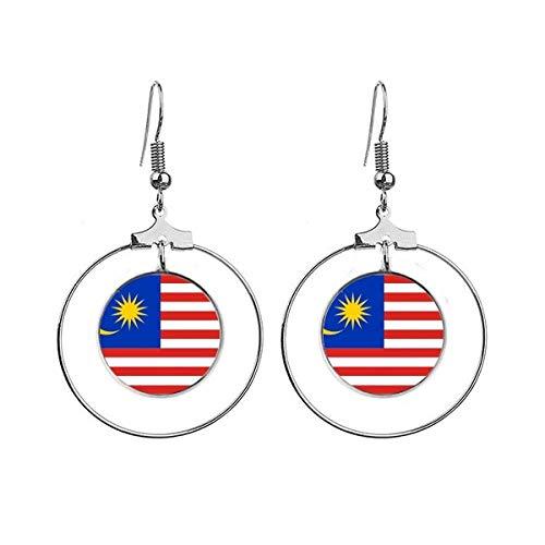 Maleisië Nationale Vlag Azië Land Oorbellen Dangle Hoop Sieraden Drop Cirkel