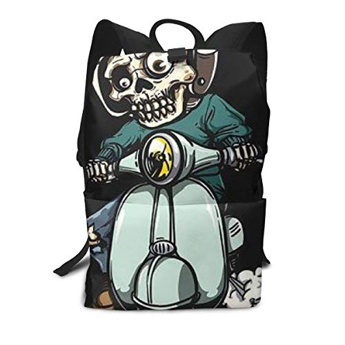 Zombie On Scooter Klassische Basic Daypack-Tasche Leichte Schulrucksäcke für Erwachsene im Freien,40cm(H) x29cm(W)