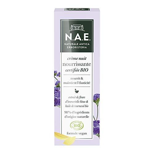 N.A.E. - Crème Nuit Nourrissante Visage - Certifiée Bio - Extrait de Fleurs d'Immortelle Bleue et Huile de Tournesol Bio - 98% d'ingrédients d'origine naturelle - Contenant de 50 ml
