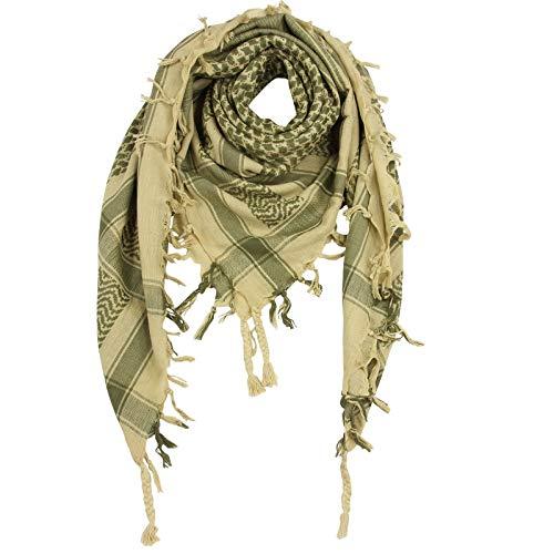 Superfreak Palituch zweifarbig spezial°PLO Schal°100x100 cm°Pali Palästinenser Arafat Tuch°100% Baumwolle – alle Farben!!!, Beige/Grün-oliv, 100x100cm