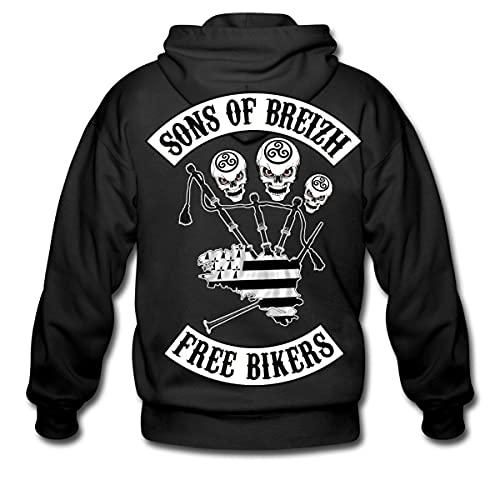 Spreadshirt Sons of Breizh Free Bikers Veste À Capuche Premium Homme, XL, Noir