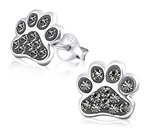 Laimons Kids Pendientes para niña Huella de perro Brillante Gris, plata Brillante Plata de ley 925