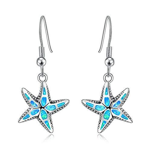 CiNily Opal Earrings for Women Girls Starfish Star Dangle Drop Earrings Blue Fire Opal Jewelry Ocean Sea Gemstone Earrings