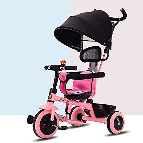 Triciclos Triciclo para niños de 4 años, triciclos de niños, triciclo, triciclos de niños 4 en 1 cochecito de cochecito de dosel, asiento ajustable, reposapiés retráctil y pedales antideslizantes para