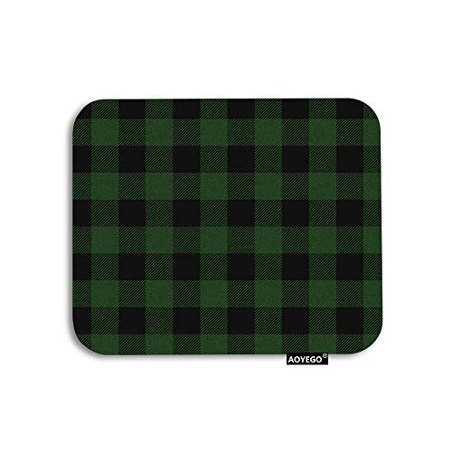AOYEGO Plaid Mouse Pad Vintage Green Black Gingham Checkered Tartan Buffalo Check Gaming Mousepad Rubber Large Pad Non-Slip for Computer Laptop Office Work Desk 9.5x7.9 Inch