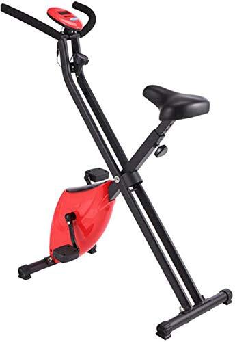 Bicicleta estática estática para interiores, plegable, portátil, con resistencia magnética, con pantalla LCD, para entrenamiento cardiovascular, color rojo