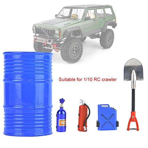 RC Crawler Accessory Simulation Including Oil Drum Shovel Nitrogen Bottle Fire Extinguisher Oil Tank(Blue)