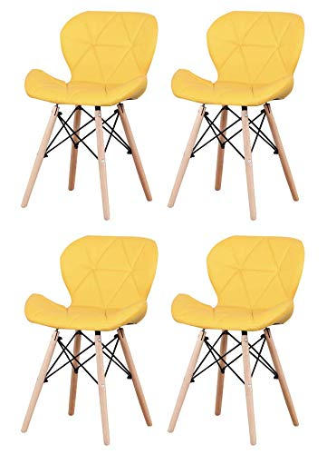 JIASEN - Juego de 4 sillas de comedor tapizadas de poliuretano, estilo moderno, sillas de cuero para sala de estar, comedor y cocina (amarillo)