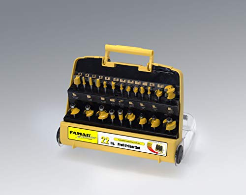 Famag 22-tlg. HM Oberfräser Fräser Set in gelber Kunststoffkassette - Schaft 8 mm