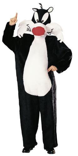Elbenwald Looney Tunes - Kater Sylvester Cartoon Kostüm, Overall mit Kopfbedeckung für Erwachsene
