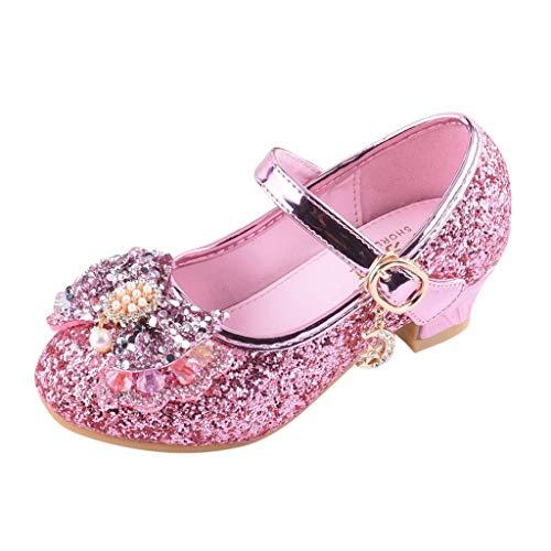 Chaussures de Princesse Fille Mary Jane Ballerine Bout Fermé Paillettes Enfant Sandale pour Ceremonie Carnaval Mariage Fête Taille 26-37