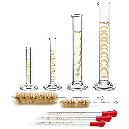 WOVELOT 4 Cilindro Graduato - 5 Ml, 10 Ml, 50 Ml, 100 Ml - Vetro Premium - Contiene 2 Spazzolini di Pulizia + 3 X Pipette di Vetro da 1 Ml