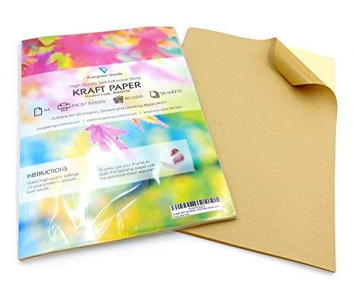 20 feuilles d'étiquettes autocollantes pour impression d'adresses en papier kraft A4 mat