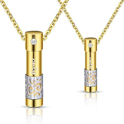 MKLI Joyería de cremación Sólo el Amor de Acero de Titanio Collar Open Puede Perfume Esencial Pareja de Aceite con el Diamante del patrón del Collar Colgante Hueco del Color 2 Pas,Gold