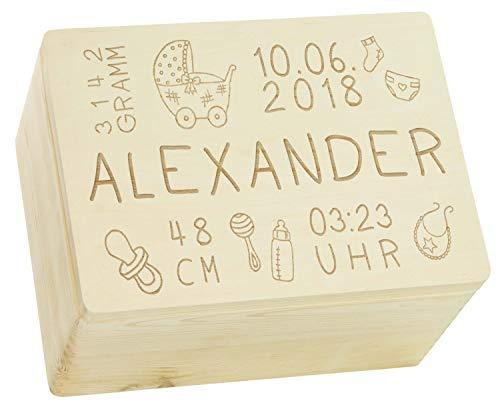 Holzkiste mit Gravur - Personalisiert mit GEBURTSDATEN - Natur Größe XL - Rassel Motiv - Erinnerungskiste als Geschenk zur Geburt - LAUBLUST®