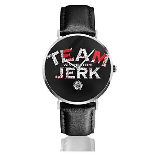 Unisex Business Casual Supernatural Winchesters Team Jerk Uhren Quarz Leder Armbanduhr mit schwarzem Lederband für Männer Frauen Junge Kollektion Geschenk