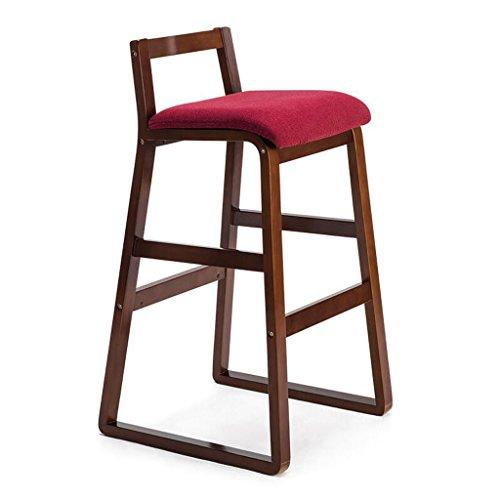 Rollsnownow Coussin rouge brun cadre en bois moderne maison chaise de bar Tabouret haut en bois solide rétro chaise haute tabouret (Size : High 77cm)