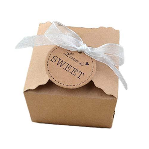 50 Stuck Kraftpapier Geschenkbox Geschenkschachtel Mit Gift Tags Für Hochzeitsfest Geschenk Verpackung Bevorzugung Geschenk Candy Braun (Chiffon Garn)
