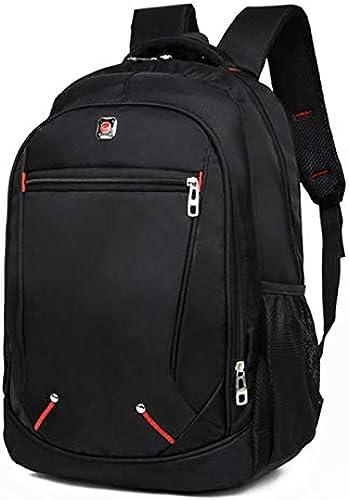 Décontracté Solid Couleur Material Sac à Dos pour Hommes Multifonctionnel de Grande capacité Oxford School sac Simple sac 45x31x16cm Noir