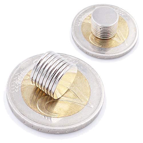 Brudazon | 10 Mini Scheiben-Magnete 10x1mm | N52 stärkste Stufe - Neodym-Magnete ultrastark | Power-Magnet für Modellbau, Foto, Whiteboard, Pinnwand, Kühlschrank, Basteln | Magnetscheibe extra stark