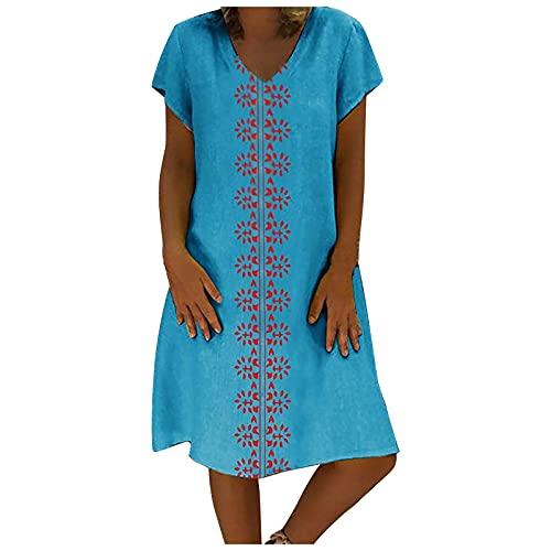 BORTGYUI Leinenhemden Kleider für Damen Knielang Kurzarm V-Ausschnitt Midikleid Hellblau 5X-Large