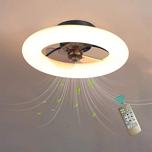 Ventilador de techo con iluminación, luz de techo LED regulable Silent 48W, función de control remoto, 6 velocidades ajustables, ultra delgada 16.5 cm sala de estar de la sala de estar ligero