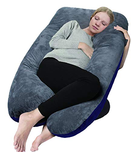 COMHO Full Body Pregnancy Pillow, U Shaped Maternity Pillow with Removable Velvet Cover, Support Back/Neck/Head - Navy and Gray