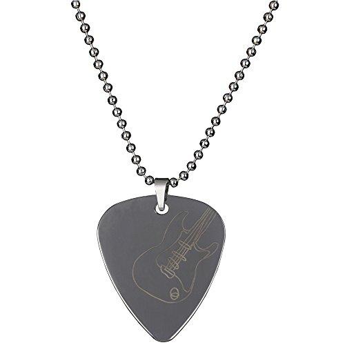 PUNK Halskette, Anhänger Plektron, aus Edelstahl für E-Bass, -Gitarre, kreatives Design Electric guitar